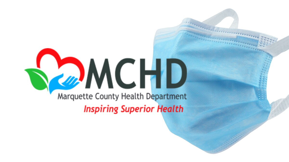 Marquette County Health Department (MCHD) logo and a face mask.