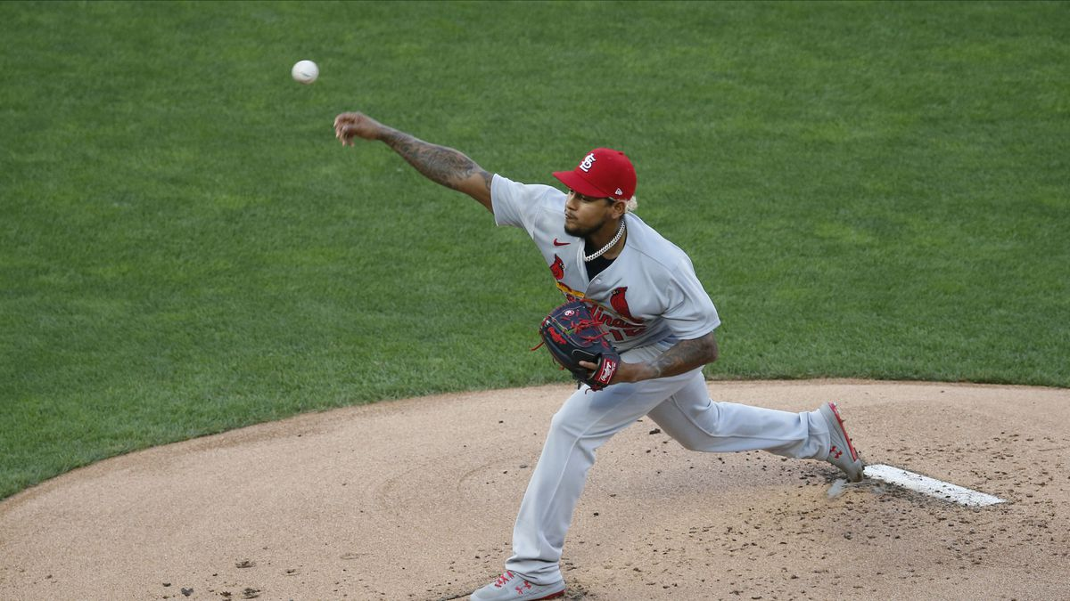 St. Louis Cardinals pitcher Carlos Martinez throws against the Minnesota Twins in the first inning of a baseball game Tuesday, July 28, in Minneapolis.