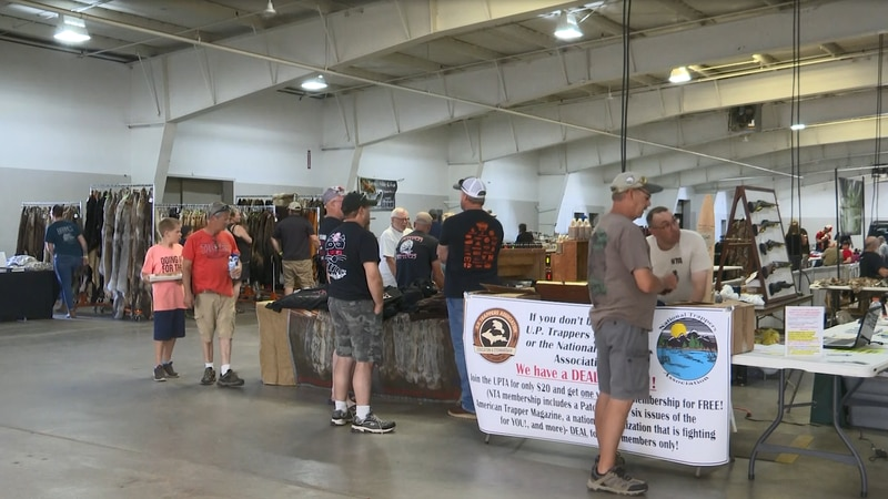 Lots of outdoor and hunting-related items on display