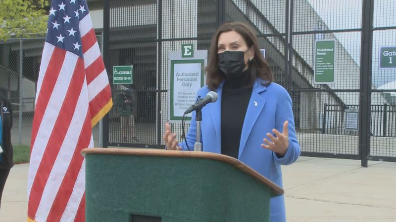 Governor Whitmer speaks at a vaccine clinic in Ypsilanti