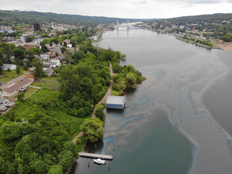 Superior Search and Rescue image of the gasoline in the Portage Canal between Houghton and...