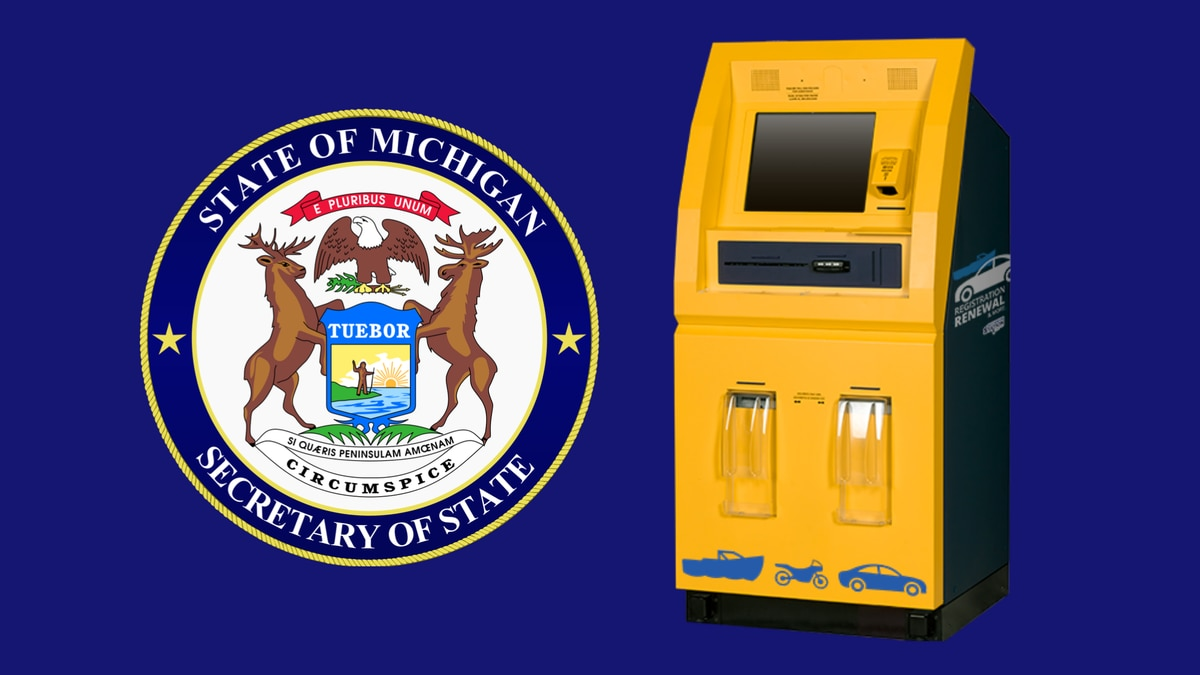 Michigan Secretary of State seal and self-service machine rendering.