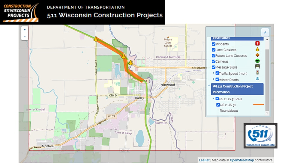 WisDOT map of the US-2/US-51 project that begins on Monday, May 3 in Hurley.
