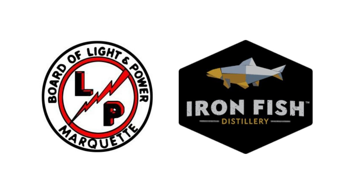(Logos for the Marquette Board of Light and Power and Iron Fish Distillery)