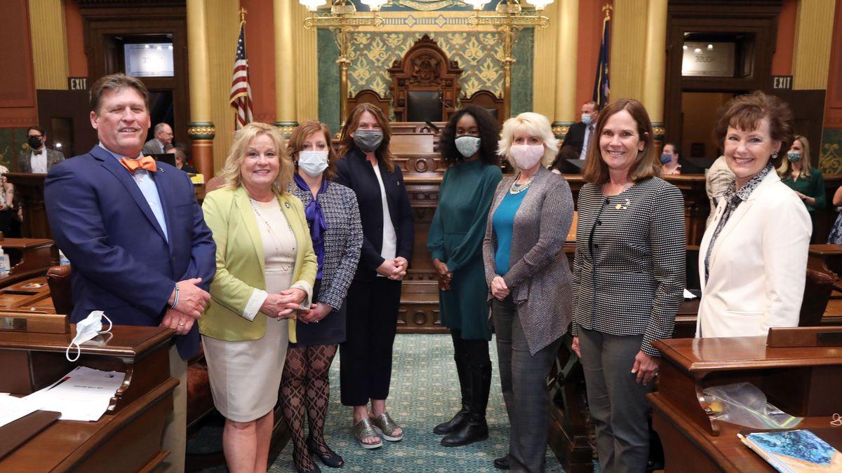 Sexual assault bills sponsors (from left): Rep. Roger Hauck (R-Union Township), Rep. Julie...