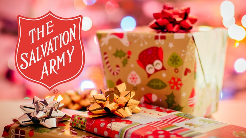 The Salvation Army logo and gifts.