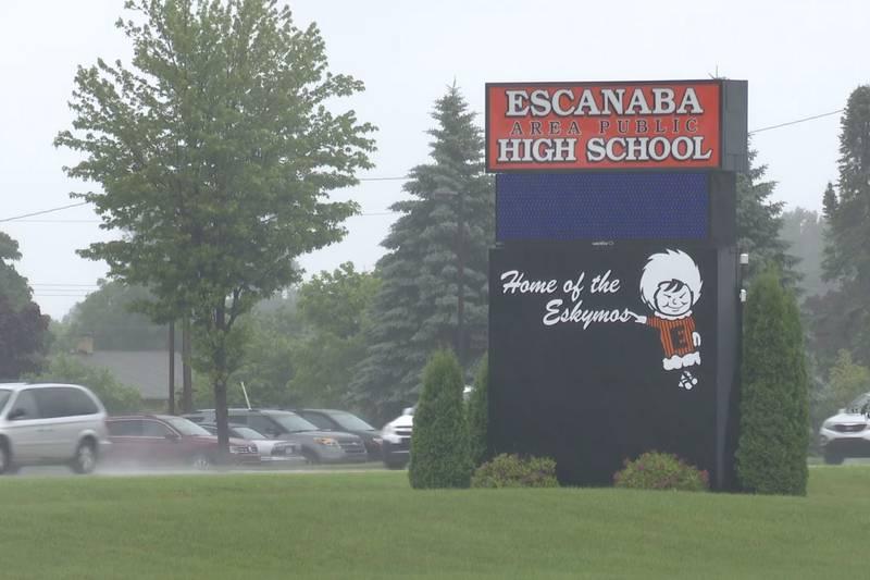 FILE. Escanaba Area High School sign.