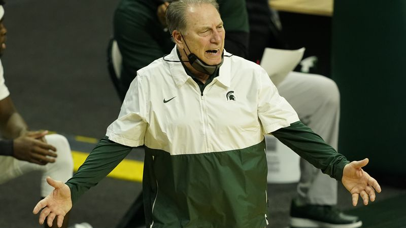 Michigan State head coach Tom Izzo watches from the sideline during the first half of an NCAA...