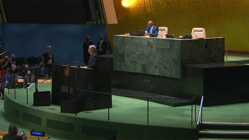 United Nations Secretary-General Antonio Guterres speaks at the United Nations General Assembly...