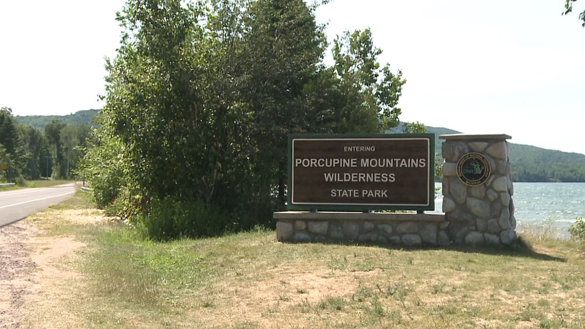 Porcupine Mountains Wilderness State Park entrance sign
