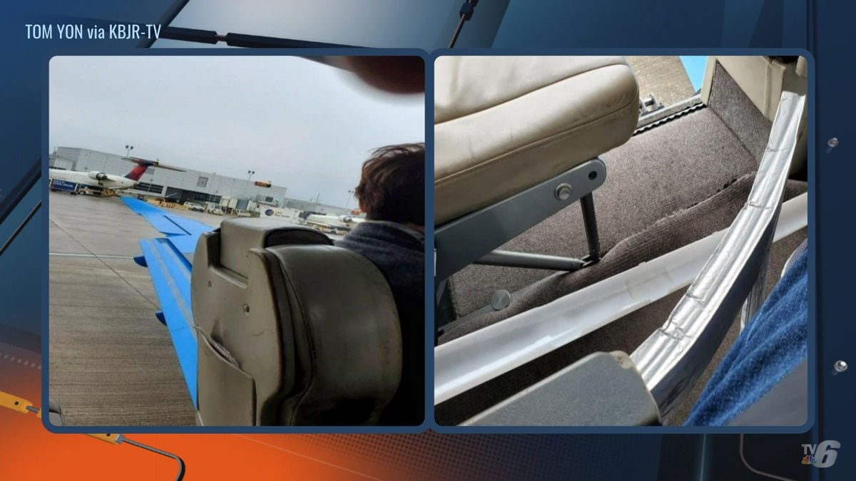 Tom Yon took these photos after an emergency door on a Boutique Airlines plane blew off prior...