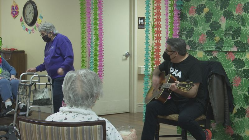 One of the residents danced along to the live music being played.