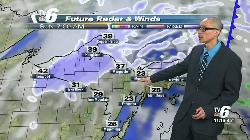 Icy roads, poor visibility with snowfall and winds exceeding 40 mph