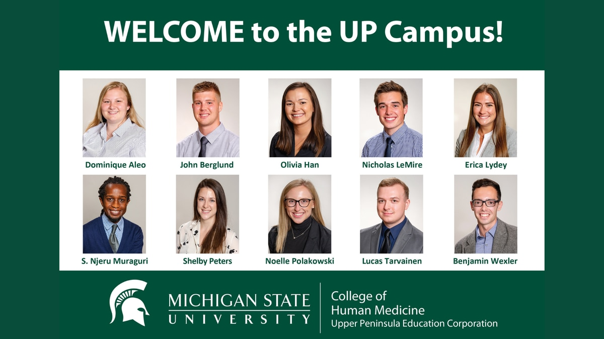 Six of the third-year medical students who came to the Upper Peninsula for the Rural Physician...
