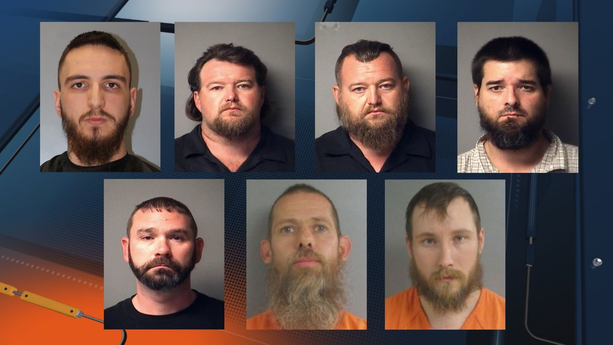Mugshots for, beginning at the top from right to left: Paul Bellar, Michael Null, William Null,...