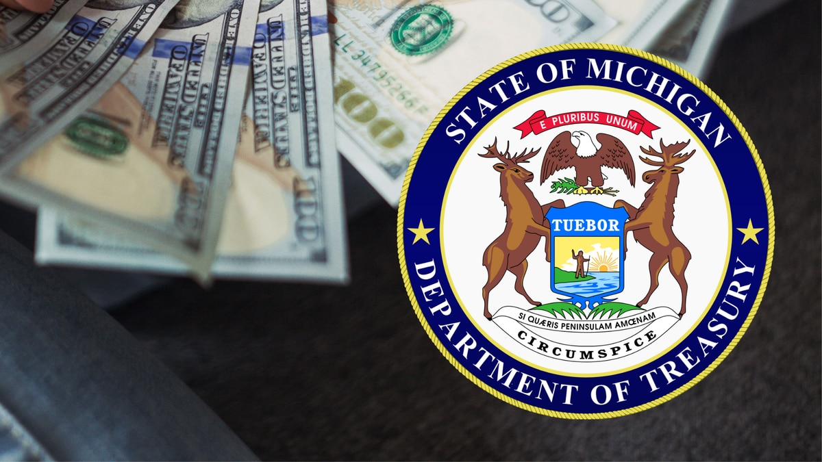 State of Michigan Department of Treasury seal and money.