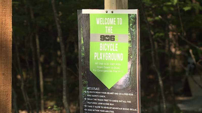 A sign for the Bike Playground at Tourist Park in Marquette