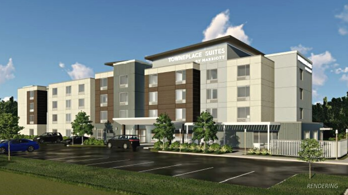 A rendering of the planned TownPlace Suites by Marriott hotel in downtown Iron Mountain....