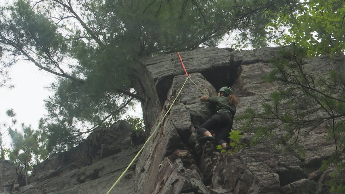 Rock climbing in Dickinson County with a guide from True North Outpost.