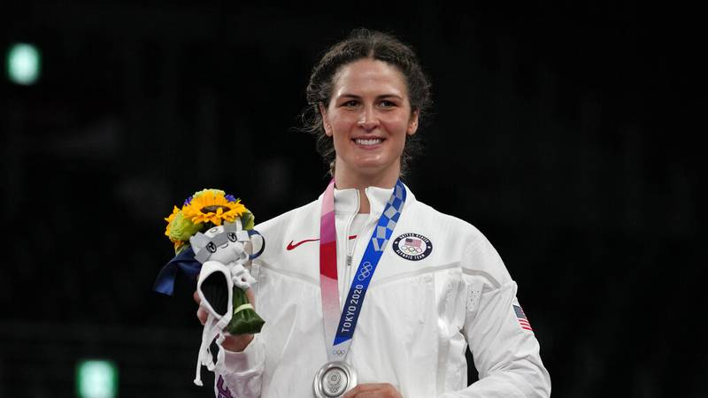 Silver medalist, United States Adeline Maria Gray celebrates during the ceremony medal for the...