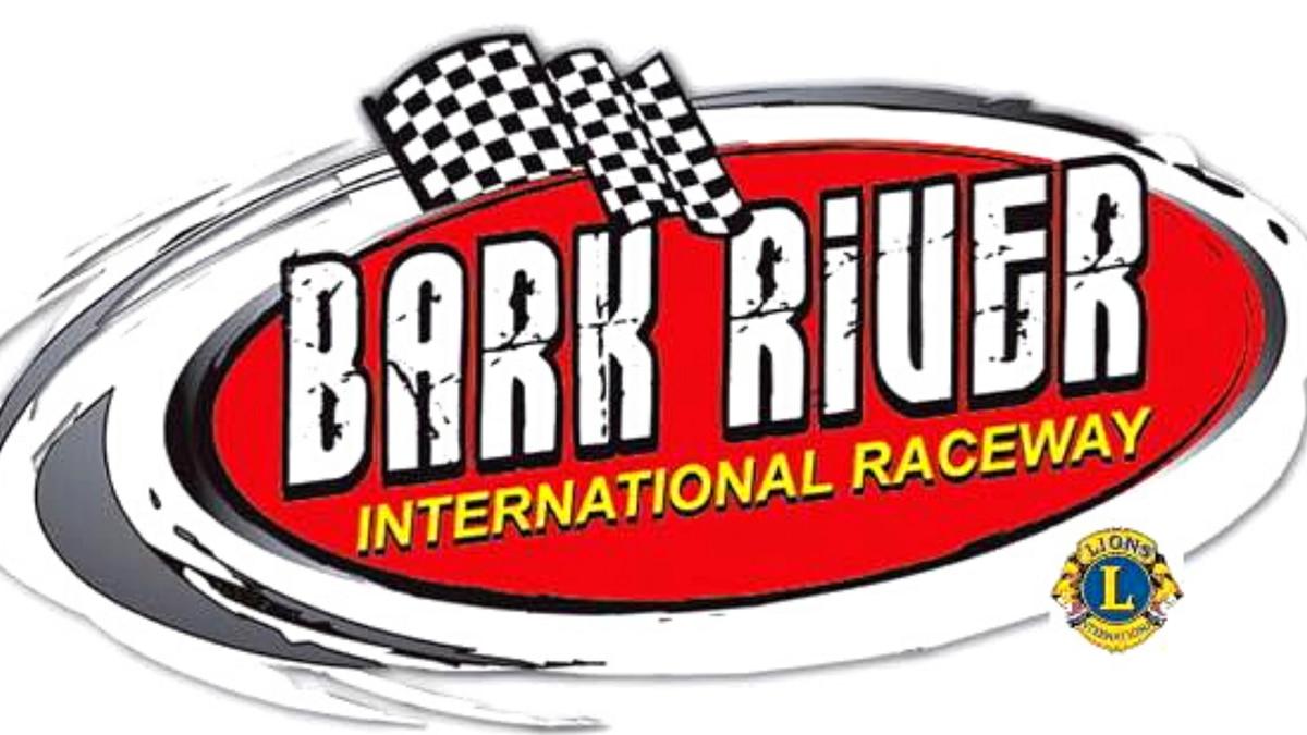 Bark River international Raceway and Bark River Lions Club graphics.