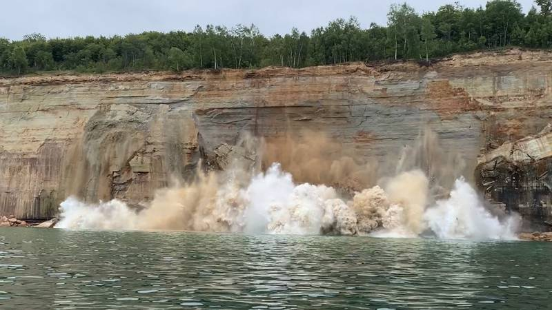 Viewer photo from Jahn Martin shows a 200-foot cliff face break off and slide into Lake...