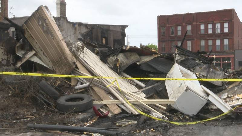 Remnants of the fire on 5th St. in Calumet are seen on May 27, 2021.