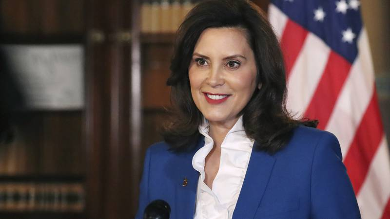 FILE - In a photo provided by the Michigan Office of the Governor, Gov. Gretchen Whitmer...