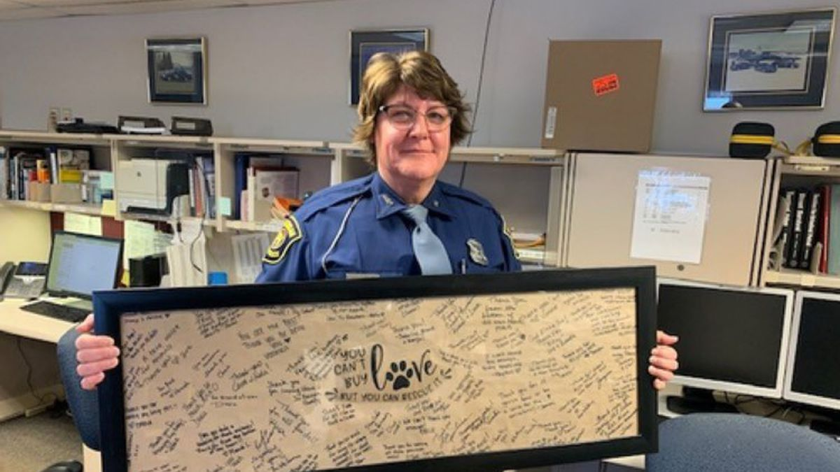 Tpr. Lisa Kanyuh of the Michigan State Police Gladstone Post was honored following her help...