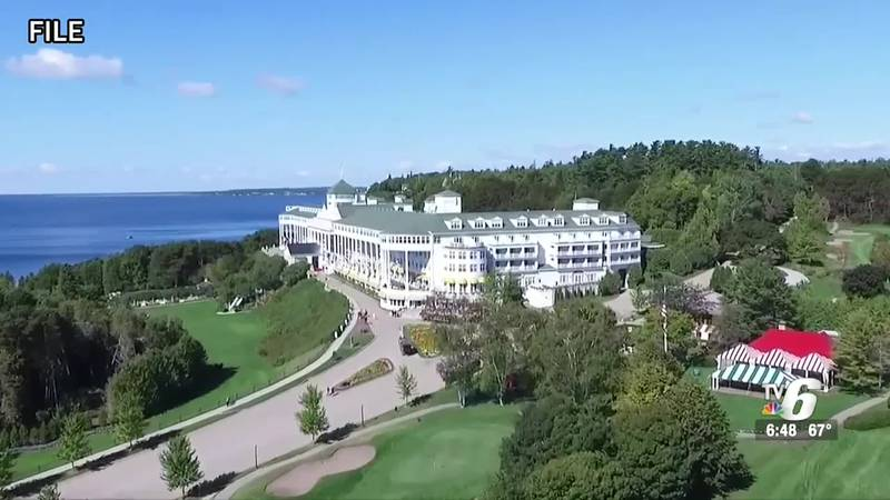 An aerial view of the Grand Hotel on Mackinac Island.