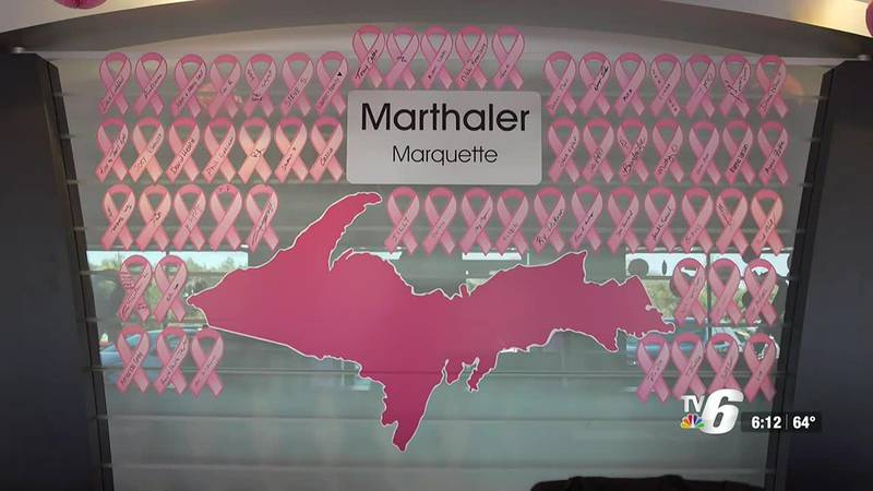 Pink ribbons on display at Marthaler in Marquette in Oct. 2021.