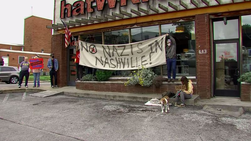 Protesters staged a demonstration outside a Nashville, Tennessee, store named Hatwrks after the...