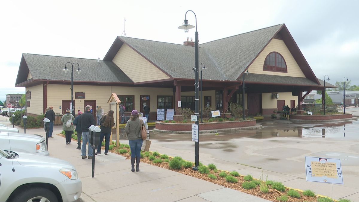 Customers line up to pick up Downtown Marquette Farmers Market orders on May 30, 2020 (WLUC image).
