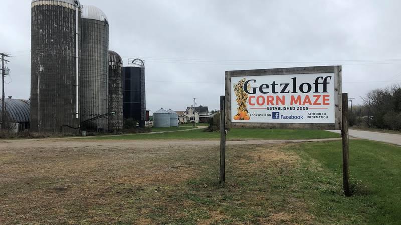 Getzloff Corn Maze sign along County Road 551 in Wilson.