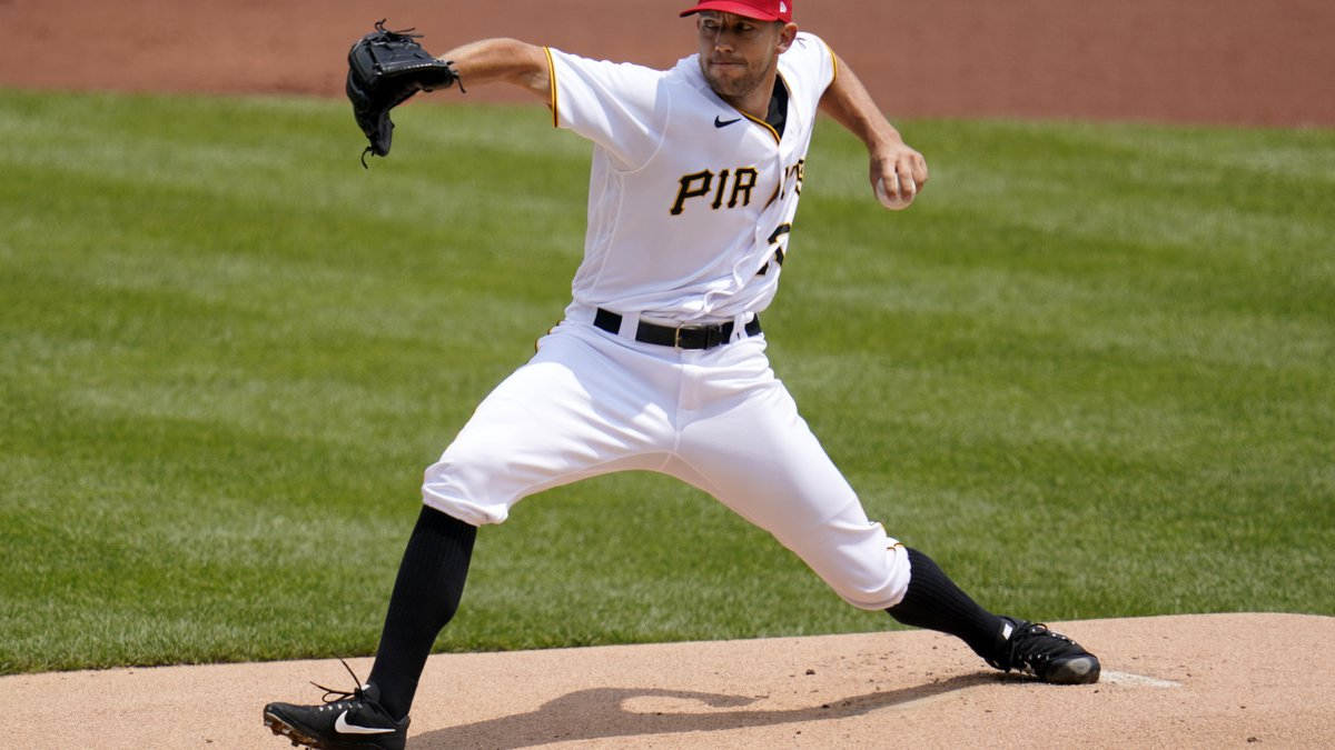 Pittsburgh Pirates starting pitcher Tyler Anderson delivers during the first inning of a...