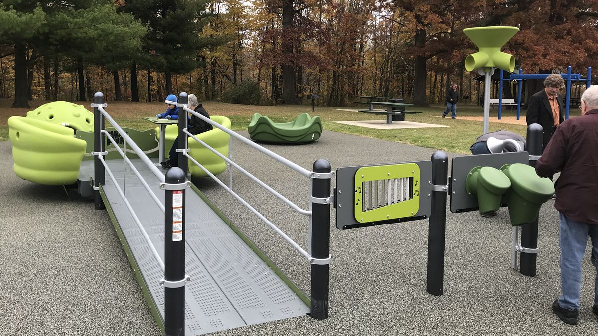 This recently completed, accessible playground at Meiselbach Park, St. Clair County, was part of a 2017 Recreation Passport grant project that also included trail and accessible parking development, lighting installation and the addition of recycling bins. (Michigan DNR Photo)