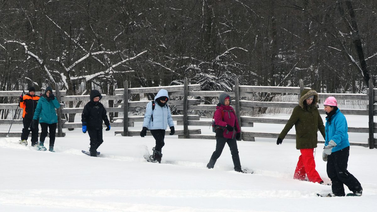 FILE. A Becoming an Outdoorswoman snowshoeing class is shown enjoying a February afternoon at...