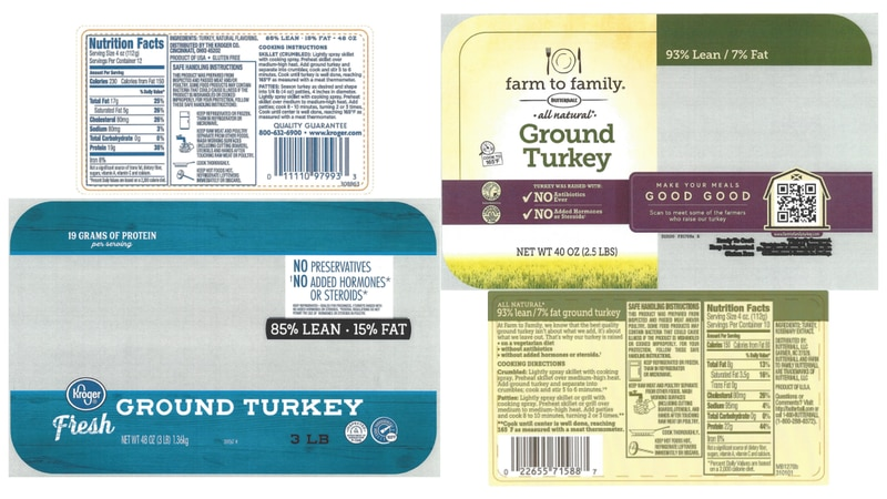Images of recalled ground turkey products from Butterball, LLC as of Oct. 13, 2021.