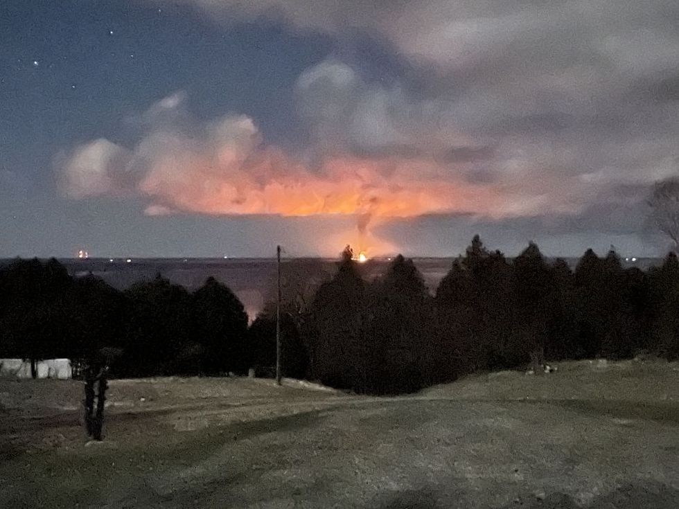 A view from the Garden Peninsula of the fire at the Nahma Resort, April 22, 2021.