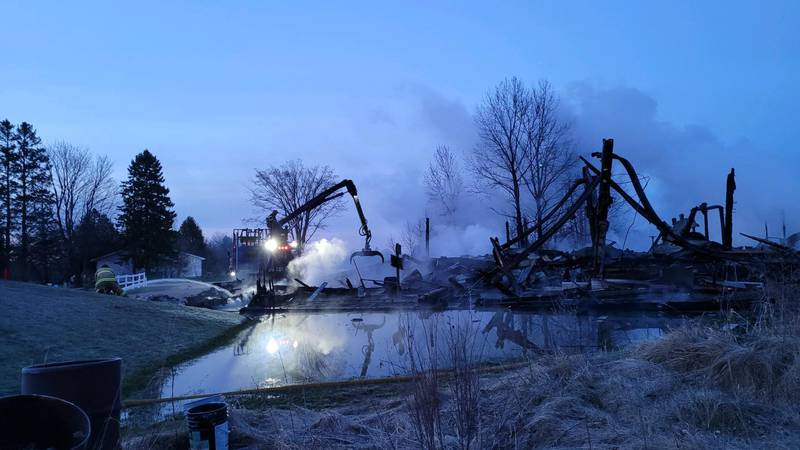 A large fire destroyed a building at the Nahma Resort, April 22, 2021.