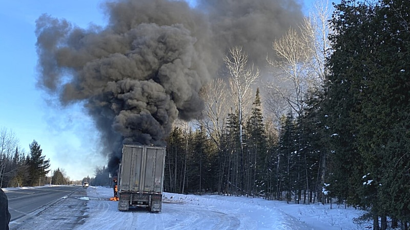 Semi truck on fire at the Dickinson County and Menominee County line on Feb. 16, 2021.