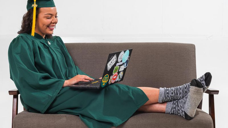 Graduate with computer.